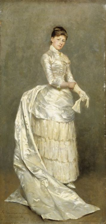 fripperiesandfobs:  Portrait of Mrs. Claus in Her Wedding Dress 1886 Emile Claus