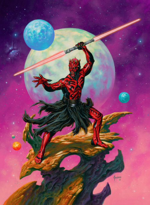 "justinrampage:  Darth Maul has never looked so hardcore thanks to talented artist Joe Jusko. Check out his step by step tutorial for this 17"" x 23"" acrylic painting here. Related Rampage: Wolverine-Hercules #4 Savage Darth Maul by Joe Jusko (deviantART)"