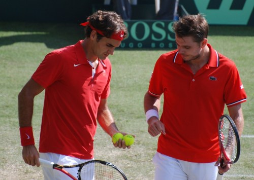 fuzzytennisballs:  Fedrinka (Stan and Rog) contesting their Davis Cup doubles match in the tie Aus vs Sui, sept 2011. (They lost in 4 sets). Pics are mine!