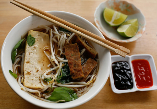 Pho Realz, a Vegan Version! goveganmeow posts an easy to follow no-meat take on the Vietnamese brothy noodle bowl.  http://goveganmeow.blogspot.com/2010/09/pho.html