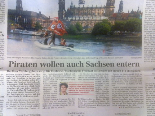 Titelstory der DNN: #Piraten wollen auch Sachsen entern - cc @Piraten_SN   - Posted using Mobypicture.com