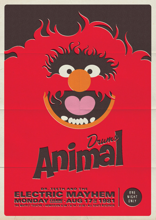 Awesome fan art of the day: Retro style Muppet concert posters And this is probably the closest you'll ever come to seeing Dr. Teeth and the Electric Mayhem live. Sad face See more here