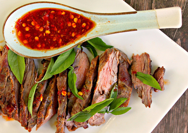 Grilled Skirt Steak with Thai Red Chili Sauce and Fresh Thai Basil