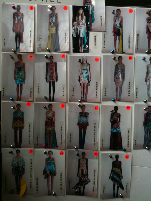 Backstage model line up at Mary Katrantzou. Simon Chilvers