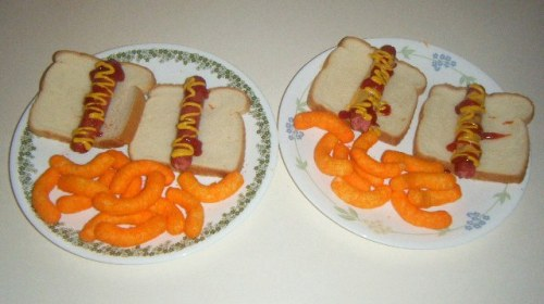Hotdogs & cheese puffs