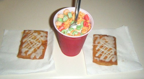 Midnight Snack: Apple Jacks cereal and apple Toaster Struedels ;)