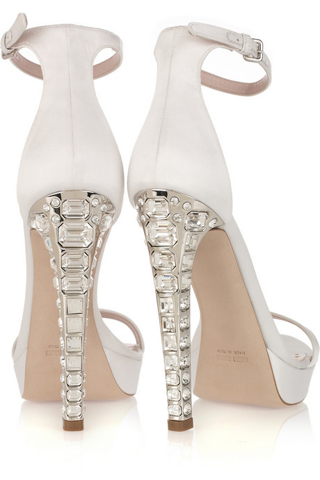 dallospazio:  Miu Miu crystal-heel satin sandals.