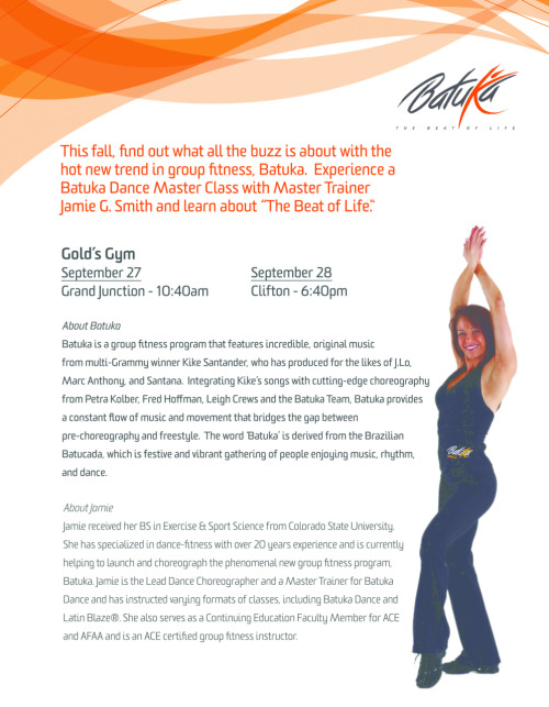 New Batuka Experience Classes announced in Denver at Gold's Gym, with Batuka Master Trainer, Jamie G. Smith.