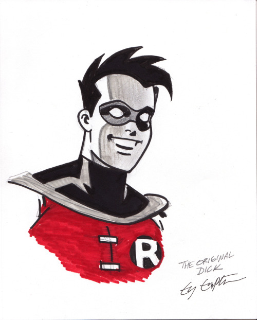 Dick Grayson Robin (animated series version) by Ty Templeton. Sketch from Montreal Comic Con 2011 (via Irrelevant Comics)