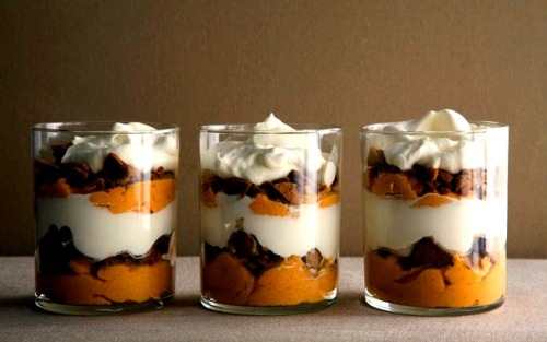 graceinplace:  pumpkin parfaits imagine the wonderful flavors of pumpkin pie rejiggered into a   dreamy mousse layered with cool whipped cream and crumbles of spicy   gingersnaps.  best of all, this delicious dessert is a breeze to make—you   may never go back to pie again.