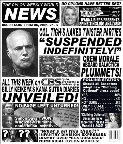 The Cylon Weekly World News (CWWN) Vol. 5. Stay tuned for tomorrow's edition!