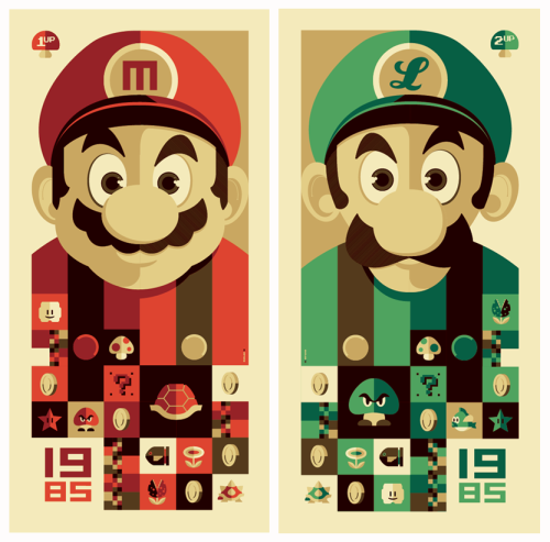 "erikaillustrated:  ""1985: 1up"" and ""1985: 2up"" giclee posters by Tom Whalen"