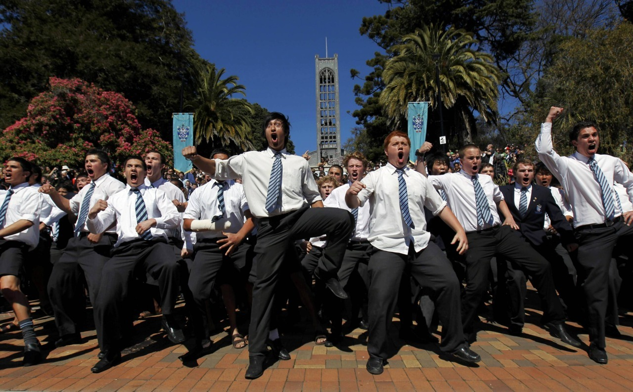 nationalpostsports:  Schooboys perform the Haka before the start of the re-enactment of the first match rugby ever played in New Zealand in Nelson on Tuesday. The celebration re-enacts the original rugby match played between Nelson College and Nelson Rugby Club in Nelson on May 14, 1870.  REUTERS/Marcos Brindicci
