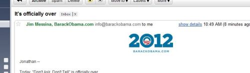 "This was a very disconcerting email to get, in light of ""Is Barack Obama Depressed?"" Turns out, it is about Don't Ask, Don't Tell. Still, what a scare! It's easy to laugh, it's easy to hate; it takes guts to be gentle and kind. : ("