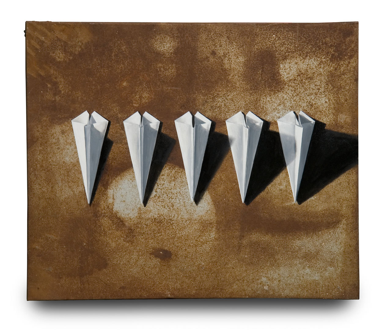 "SUBMISSION: ""Paper Airplanes"" oil painting on scrap sheet metal by Michael Fitts."