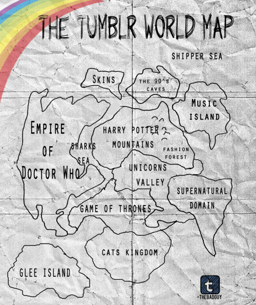 tedselusivepussy:  praline-anddick:  -thebadguy:  THE TUMBLR WORLD MAP  Music Island isn't big enough. Just sayin'.  ^ This Also, where's the island for all the amazing food?