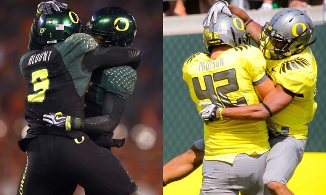 "College football gets fashionable The Ducks, ""a team that loves costume changes,""  have long been credited with starting the chic uniform trend that's  taken college athletics by storm. In the past few years, they've sported  ""dozens of uniform combinations,"" including these two. This season, watch out for an all-black Nike Pro combat uniform reminiscent of Darth Vader. Increasingly, teams across the country are taking a page from Oregon's playbook with eye-popping, avant garde  uniforms — and partnerships with Nike and Under Armour. Here, seven new  looks on the field this season"