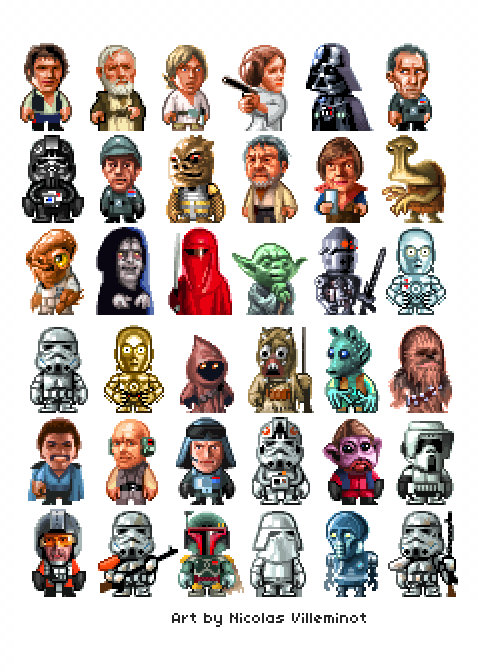 gameandgraphics:  Star Wars pixel art characters by Nicolas Villeminot.