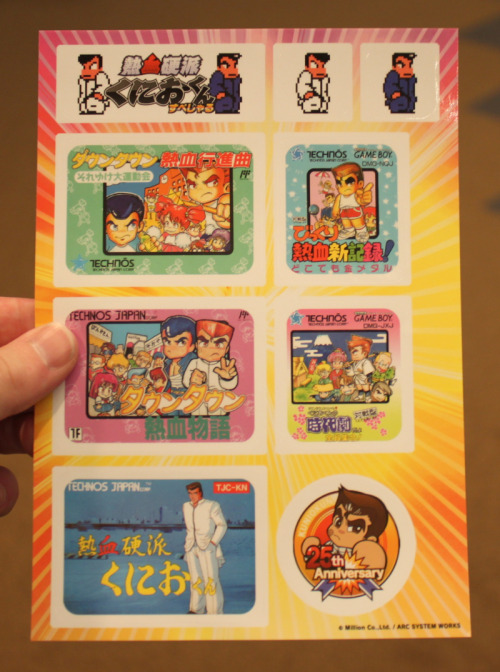 tinycartridge:  Kunio-kun sticker sheet. Arc System Works handed these out at TGS to anyone who played through the demo of the new 3DS Kunio game, which you'd better believe I did! While there were hours-long lines for the Persona fighting game at Arc's booth, I was able to saunter right up to this game with zero wait. I'll have a preview of the actual game up on Joystiq soon, and I'll mention it here when that happens. Buy: Nintendo 3DS (Flame Red, Black, & Blue) Find: Nintendo DS/3DS release dates, discounts, & more See also: More Nintendo 3DS news, Kunio stuff  Oh shi… My integrated nostalgy controller get mad… Wanna fucking play!..