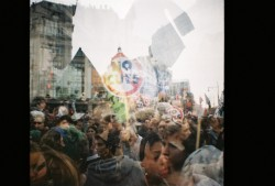 Photo taken with my Diana Mini at the anti-spending cuts protests, London (March 2011)