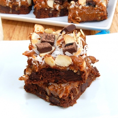 gastrogirl:  coconut almond caramel brownies.