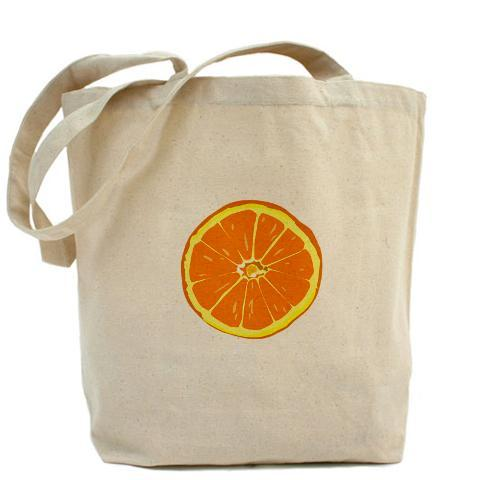 Orange slice tote.  Our 100% cotton canvas tote bags have plenty of room to carry everything  you need when you are on the go. They include a bottom gusset and extra  long handles for easy carrying.