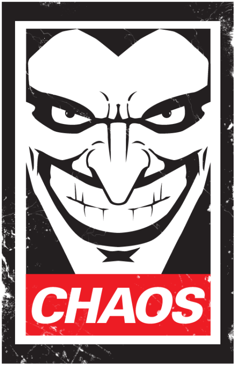 herochan:  Choas (Inspired by Shepard Fairey creator of OBEY) Created by Robert Mangaoang aka Doom CMYK (via:doomsdaily)