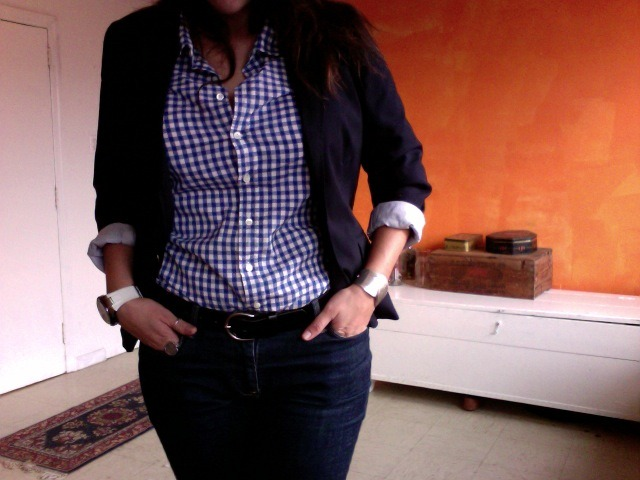 thatkindofwoman:  What I am wearing today. I wish the belt was brown, but I couldn't find my brown belt.  Gear: GAP blazer, J.Crew Shirt, A|X watch, Elle Cuff, Unknown belt, Old Navy Denim, L.L. Bean riding boots.