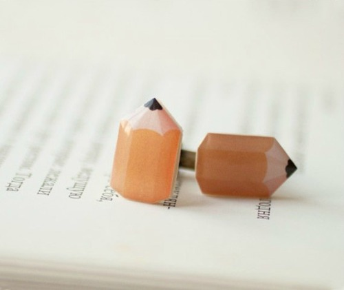 wickedclothes:  A pair of pencil cuff-links. Perfect choice for a creative person. The picture is printed on ivory plastic and protected with a cover of glossy resin. Sold on Etsy.