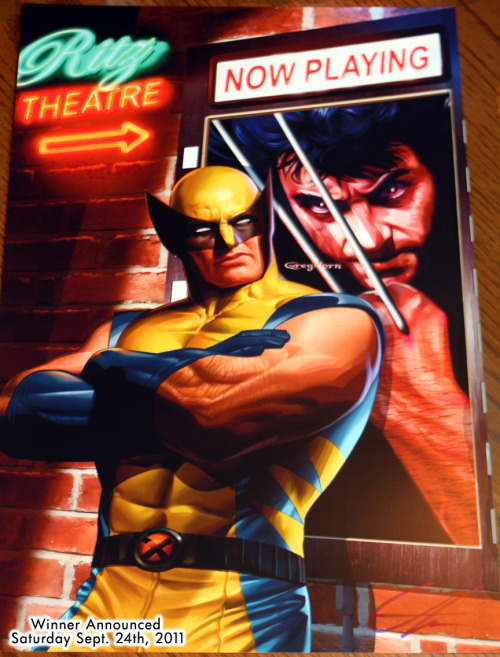 "herochan:  Reblog & Win: High quality Wolverine & Hugh Jackman print (11 x 17) personally signed by artist Greg Horn Artist note: This cover for Wizard's ""X"" book shows the comic book version of Wolverine, and the film version from the X-men movies.  As you, can see Wolverine is not impressed."