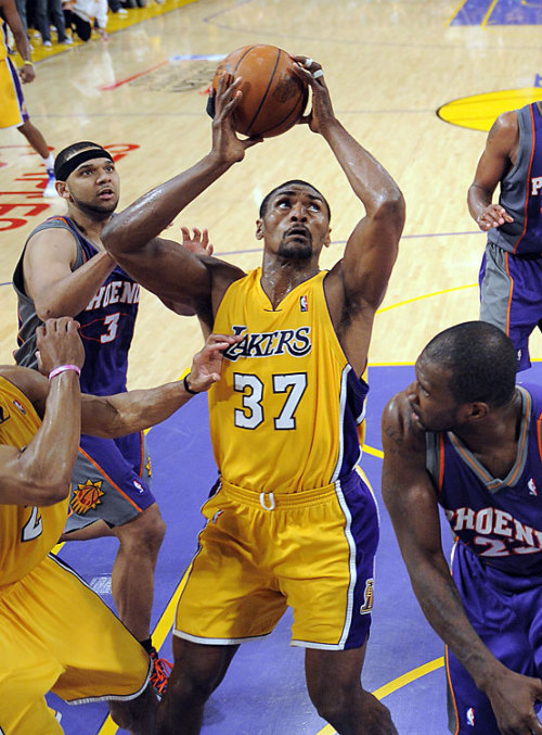 gotemcoach:  If you're looking for clips of Ron Artest on Dancing with the Stars, you're not going to find them here. If you're looking for pictures where I photoshop Ron into a Laker game wearing his ridiculous dancing outfits, you're looking in the wrong place (though that's a good idea). The only dancing I like to see from Ron is the jubilant, up and down version he displayed after Game 5 of the Western Conference Finals in 2010. The Lakers and Suns were tied 2-2 in a best of 7 showdown, and the winner of Game 5 was sure to take a stranglehold on the series.  Tied at 101, with 3.5 seconds left, an inbounds pass went directly to Kobe, who hoisted a deep, contested two-point shot.  Ron Ron picked up on the flight of the ball, immediately reacted, and cut directly to the basket to rebound the sure miss.  With a catch, spin and shot all in one move, Ron put in the game-winner at the horn.  The Lakers would finish the Suns in Game 6, before heading to the Finals where Los Angeles beat their hated rivals, the Boston Celtics, for the 2010 NBA Finals.  That's how I remember Ron Artest.  That's how I remember him dancing.  Hell, after that basket, all the Lakers danced.  Together. @gotem_coach For more on Ron Artest, read my column at LakerNation.com: Ron Artest vs, Metta World Peace   I have an Artest jersey. He is one of my favorite Lakers. This game, and game 7 of the 2010 NBA Finals, are the reasons why.