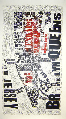 josieartstuff:  lino print New York by Mark Andrew Webber on Flickr.