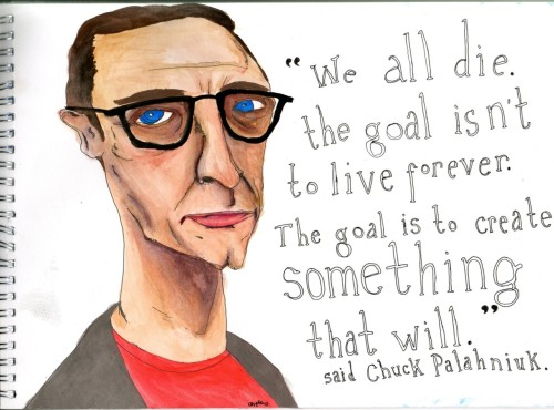 via tatteredcover:  His new book is Damned.  A Picture of author Chuck Palahniuk by charlotteespley