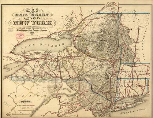 Map, New York Railroad 1857