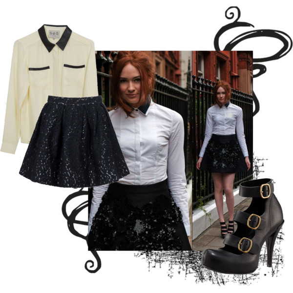 Karen Gillan - Black and white. by ponderland featuring silk shirts