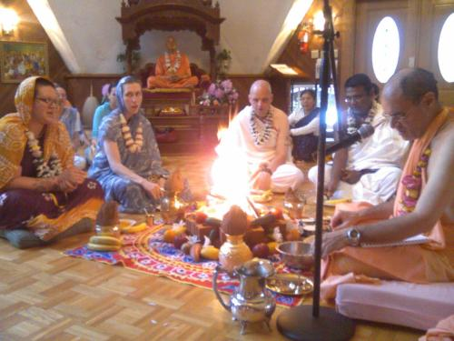 At my Harinama initiation… I am looking away from the fire sacrifice, and taking darshan of the sweet, merciful gaze Their Lordships Sri Sri Radha Golokananda.