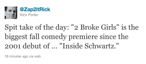 Two Broke Girls, the biggest comedy debut since Inside Schwartz in 2001.