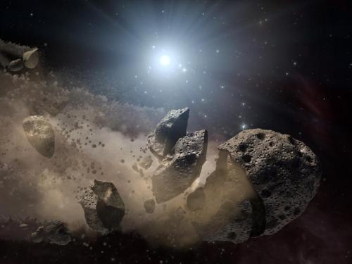 Scientists think that a giant asteroid, which broke up long ago in the  main asteroid belt between Mars and Jupiter, eventually made its way to  Earth and led to the extinction of the dinosaurs. Data from NASA's WISE  mission likely rules out the leading suspect, a member of a family of  asteroids called Baptistina, so the search for the origins of the  dinosaur-killing asteroid goes on. [NASA/JPL-Caltech]