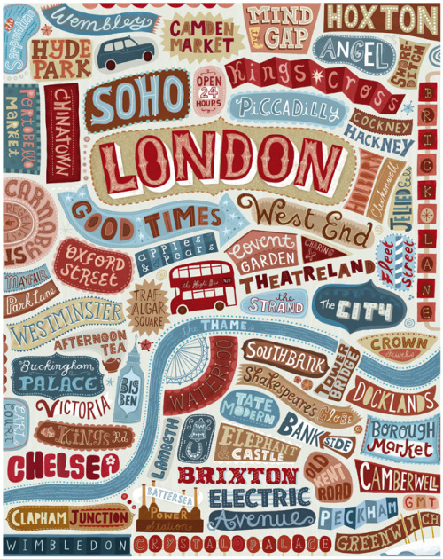 dannyhaines:  Linzie Hunter IllustrationInteresting type and map combination's