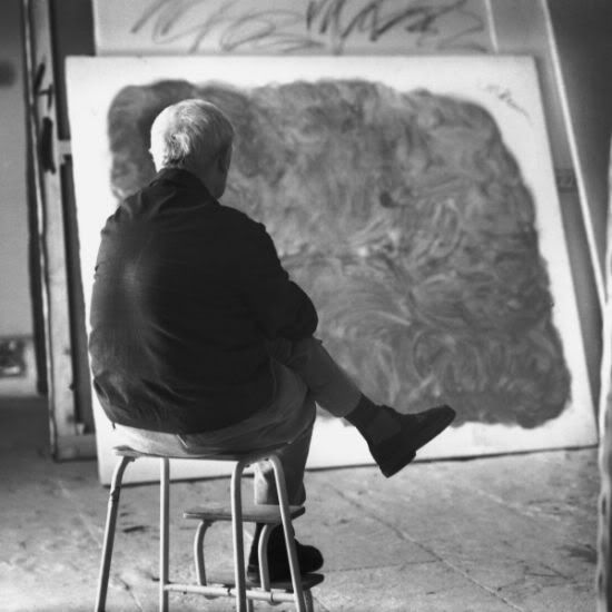 Joan Miro in his Palma de Mallorca studio