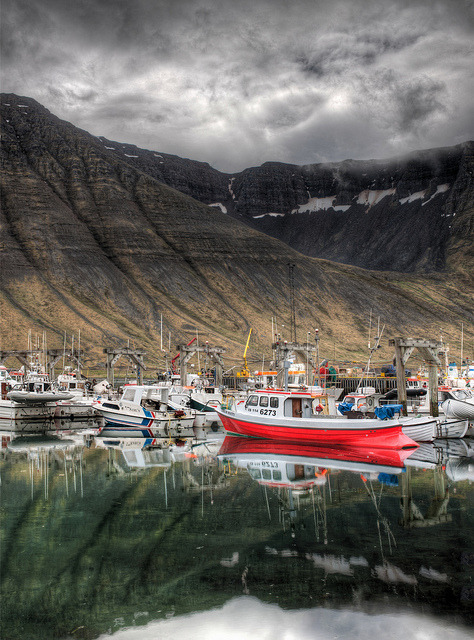 Red Boat in Fjord Before Storm by Stuck in Customs on Flickr.