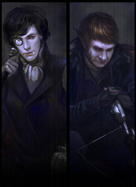 "lostconner:  Vampire Sherlock & Werewolf John(Demon Hunter) ————————————————————— John:""Hey, man, (gun against his head) how come you never told me that you have a brother with cross and silver bullet when we become partner?"" Sherlock:""(off his glasses, sneering)Did he offer you holy water? Pity we could have split it and spill on those idiots of Scotland Yard. Think it through next time."""