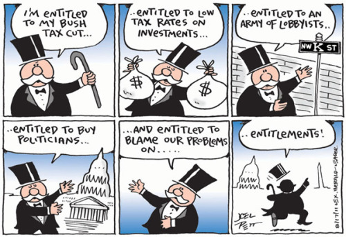 "ryking:  Joel Pett, ""Entitlements."""