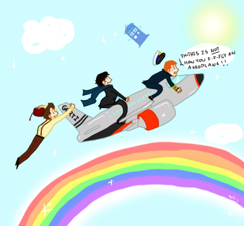 robynium:  A request for Sherlock and the Doctor in/on GERTI being flown by Cap'n Martin Crieff… but I decided to put them on it so I put Martin outside too because if he were flying the plane then he'd have to be tiny and that wouldn't work… So, I'm thinking it is a small GERTI, not giant people, but you can think whatever you like. :D I hope you like it, Anon! :D