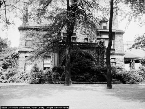 Stone mansion at Peachtree St and Ponce de Leon Avenue.  1941 - Midtown Atlanta.
