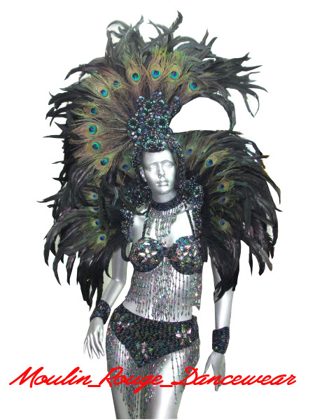 Peacock/Feather Showgirl Drag Burlesque Costume Shoulder Headdress Set