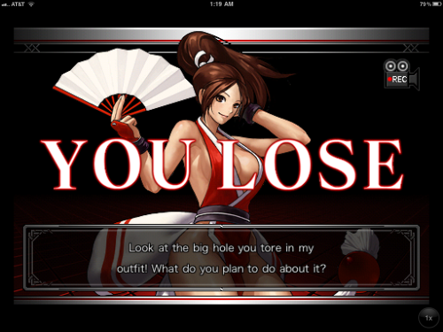 bison2winquote:  - Mai Shiranui defeating Mature, The King of Fighters-i [iOS] (SNK-Playmore)