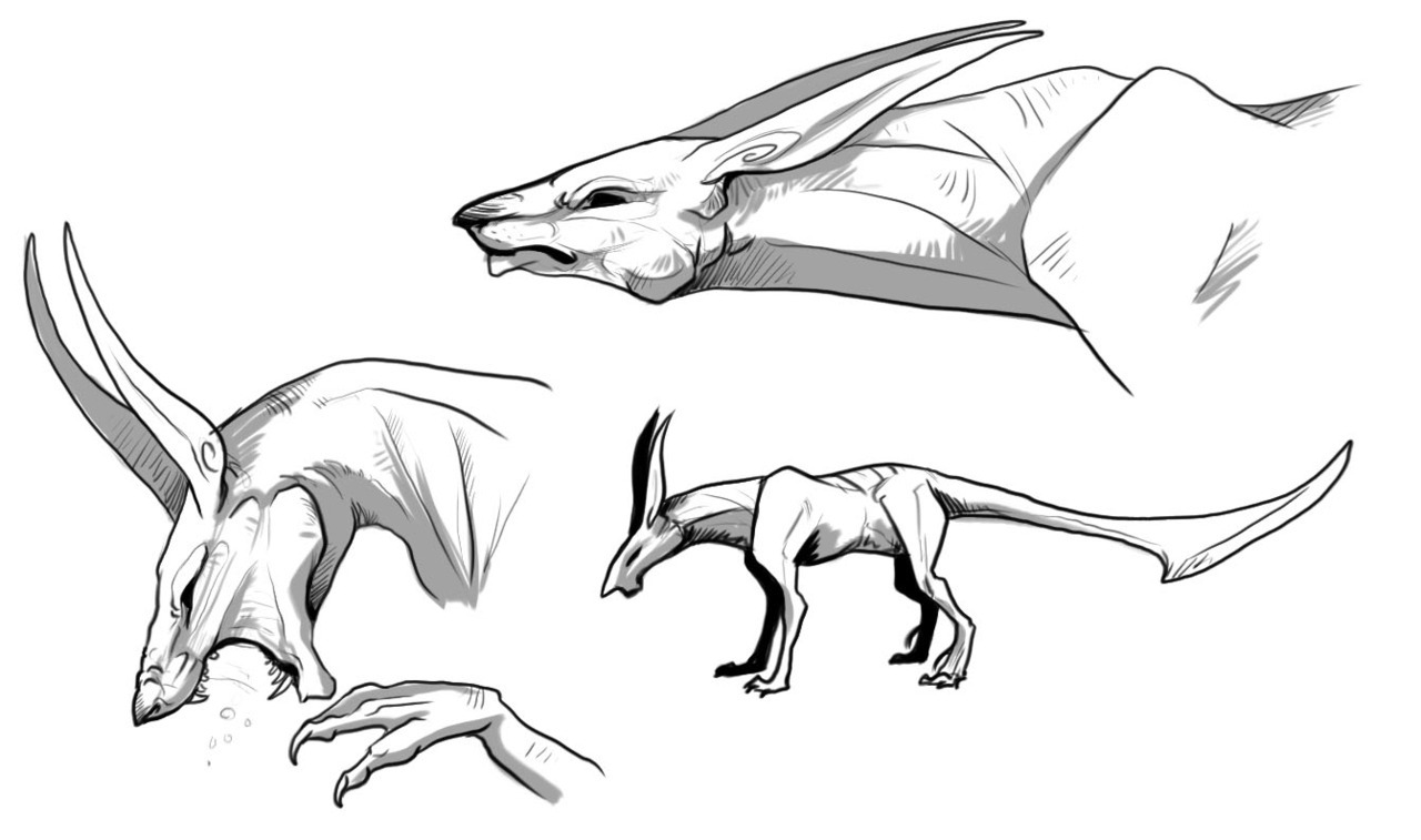 beginning concept for future character/species. They're nicknamed Viper Hounds or Shark Dogs.