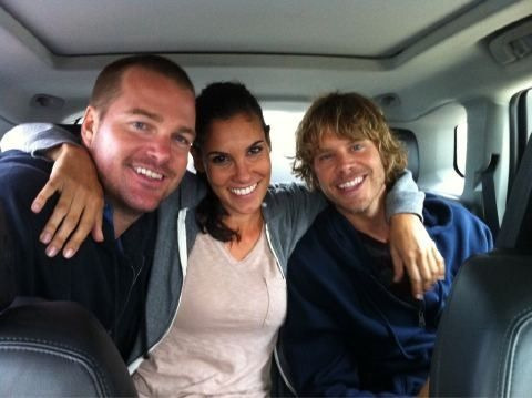 adeeksanonymous:  Photo via Daniela Ruah of herself, Chris O'Donnell and ECO #NCISLA