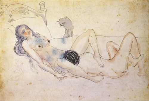 Pablo Picasso, Two Figures and a Cat, 1902.  'cos we classy.
